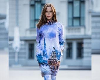 Oversize sweater dress, Jumper dress with pockets, Long sleeve dress, Turtleneck sweater dress, , Winter dress, Plus size clothing