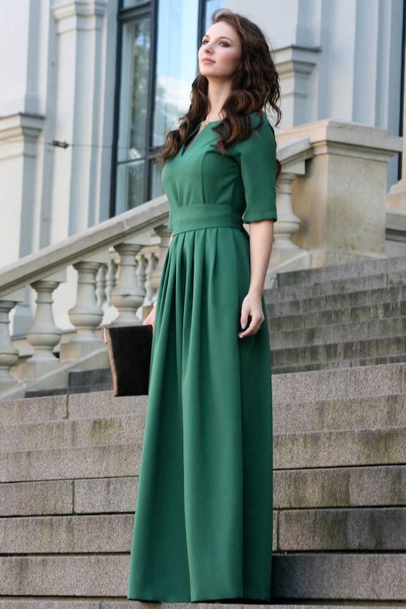 Green Dress Women Dress Long Green Dress Plus Size Dress Etsy