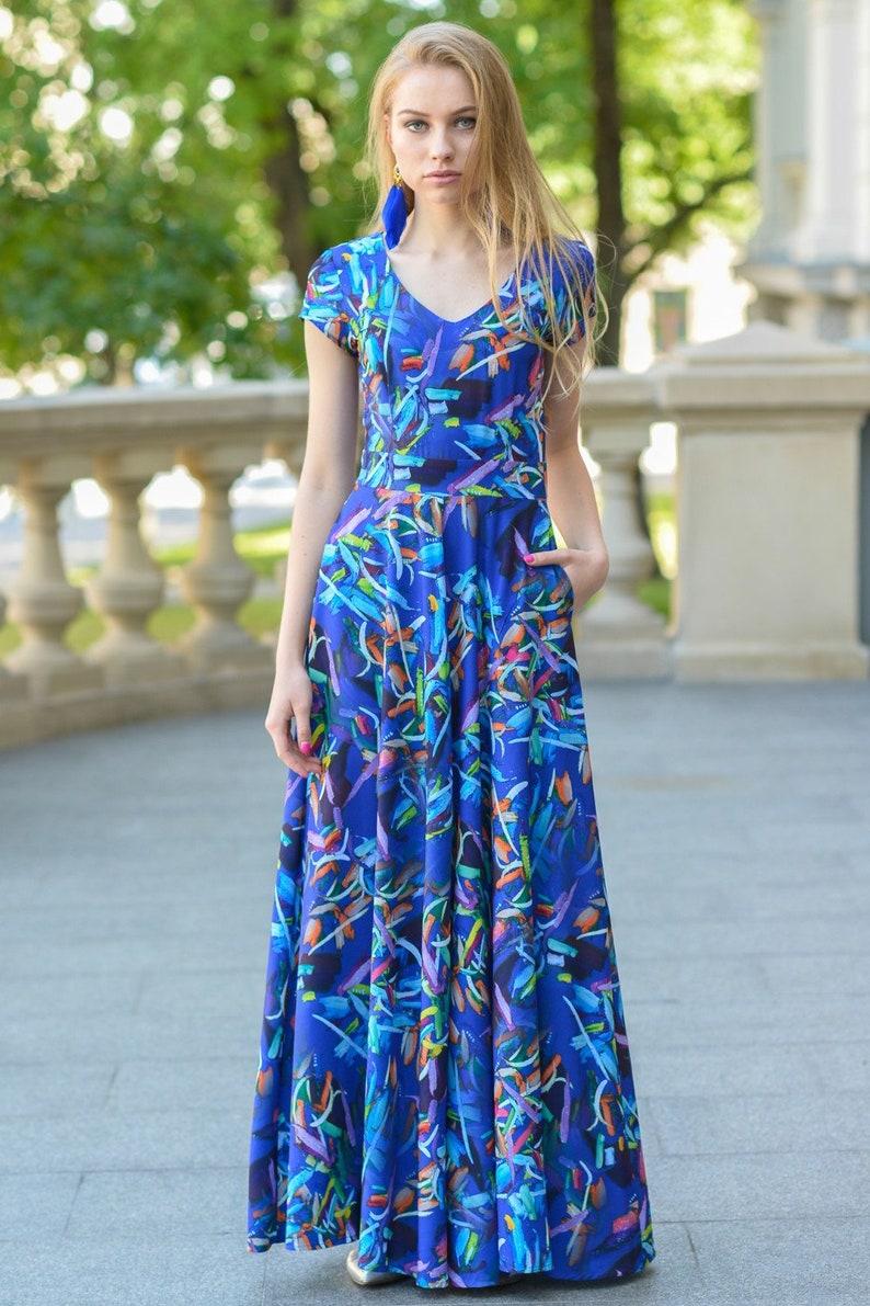 the latest a75f9 3a99c Blaues Kleid, Maxi-Kleid, Frauen Kleid, langes Kleid, Boho Maxikleid, Plus  Size Kleidung, Boho Kleid, kurzen Ärmeln Kleid, V-Neck-Kleid