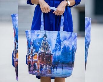 Shopping Bag, Beach Tote Bag, Women Bag, Colorful Tote Bag, Blue Tote Bag, Abstract Tote Bag, Festival Accessories, Women Boho Handbag