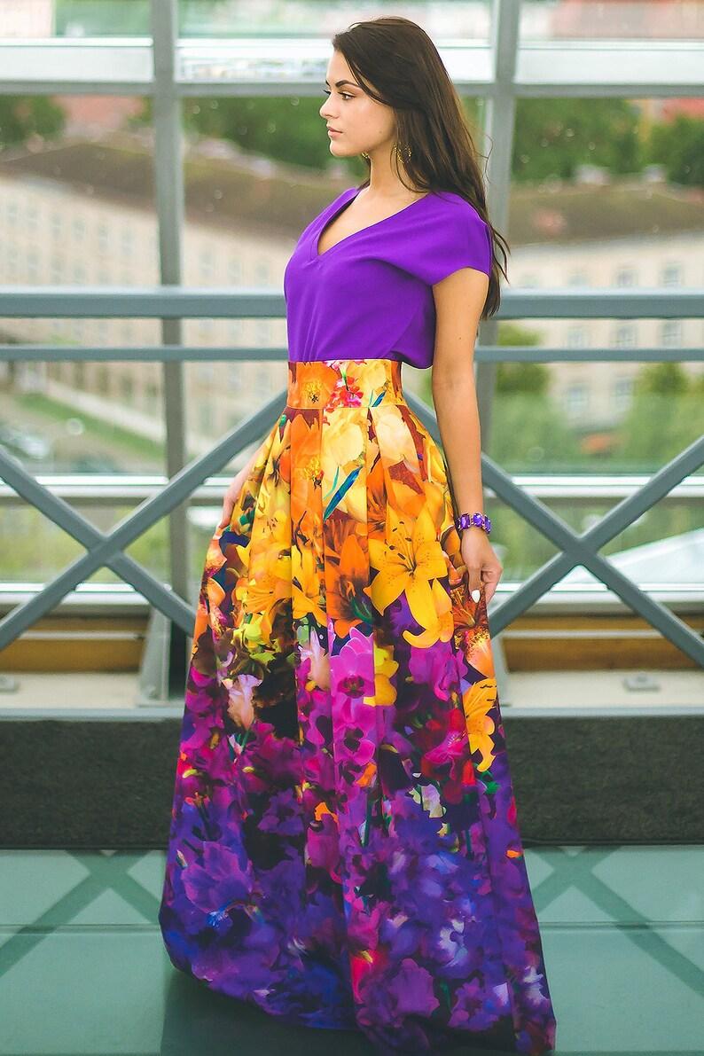 Plus Size Maxi Skirt Floral Long Skirt Evening Dress Maxi | Etsy