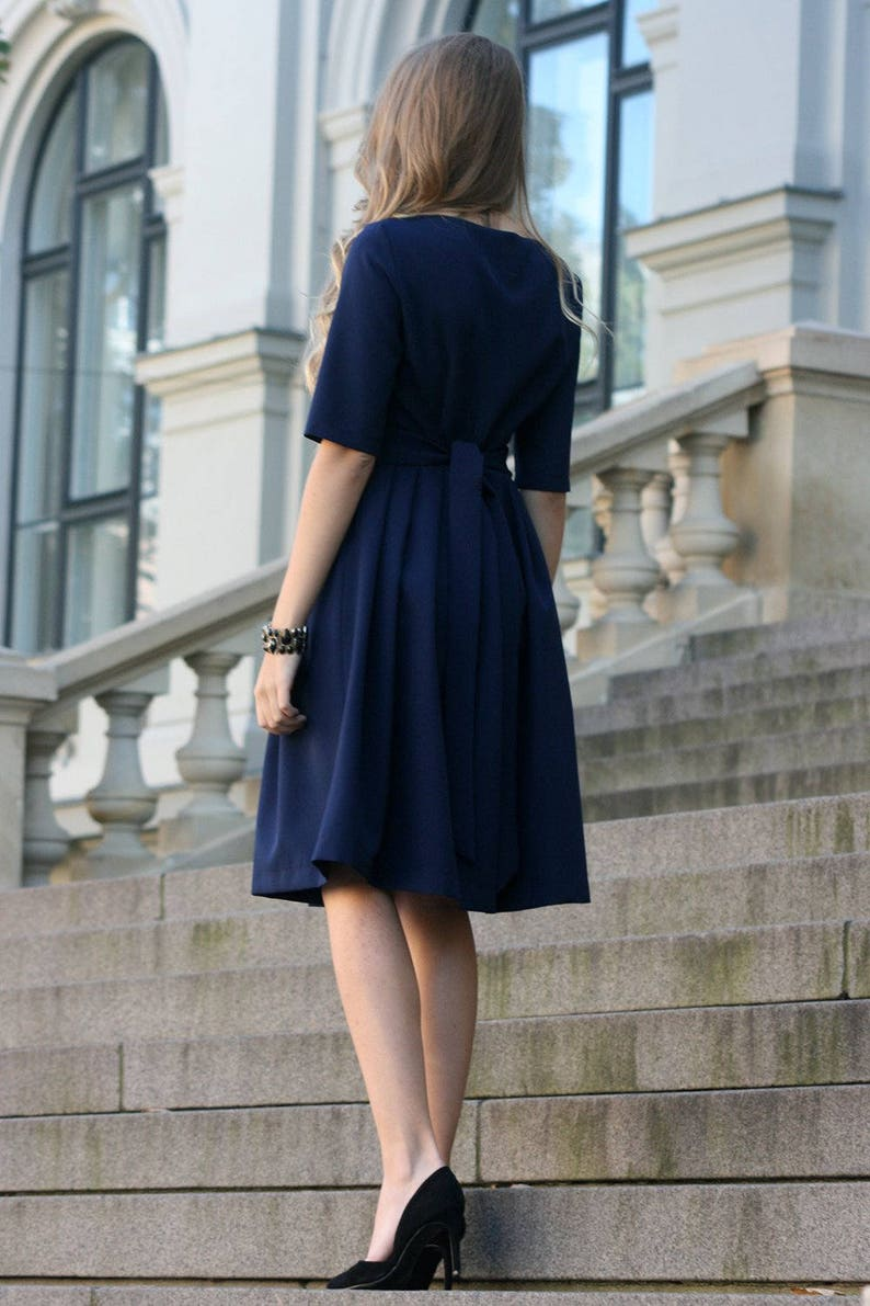 Midi Dress Ball Dress Formal Dress Blue Dress 1950/'s Dress Plus Size Dress Pleated Dress Women Clothing Navy Dress Office Dress