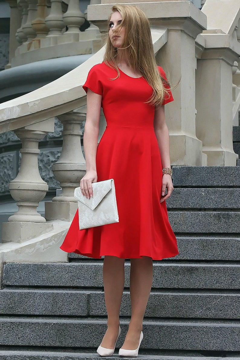 41cd31a44abb Vestito longuette abito damigella d onore vestito rosso
