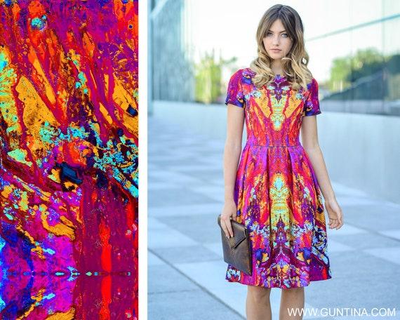 Summer Dress, Colorful Dress, Tie Dye Clothing, Abstract Dress, Short Sleeved Dress, Beach Dress, Extravagant Dress, Women Clothing