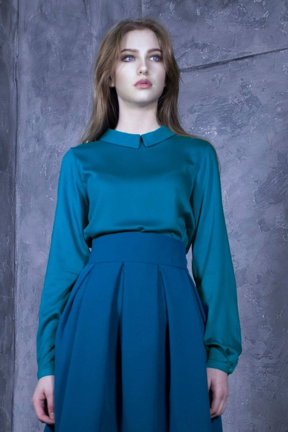 Turquoise Blouse Women Blouse Elegant Top Plus Size Top Etsy