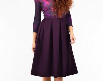 Purple Skirt, Romantic Skirt, Formal Skirt, Office Skirt, Plus Size Skirt, Designer Skirt, Party Skirt, Summer Skirt, Pleated Skirt