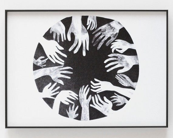 Moon Riso Print - Black and white circle with hands, small