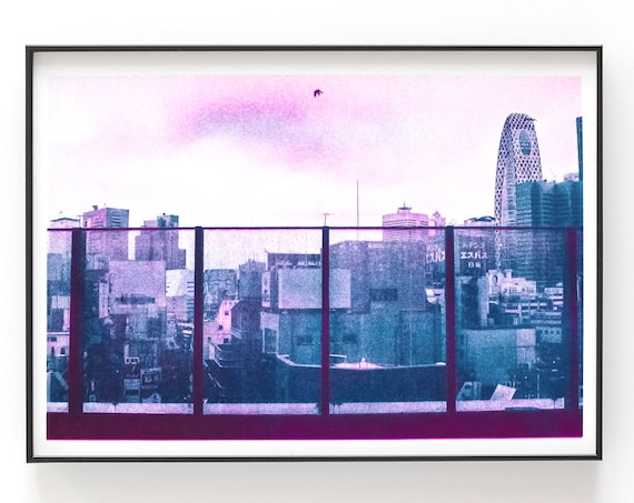 Riso Print - Risograph print of crow flying above the Tokyo skyline
