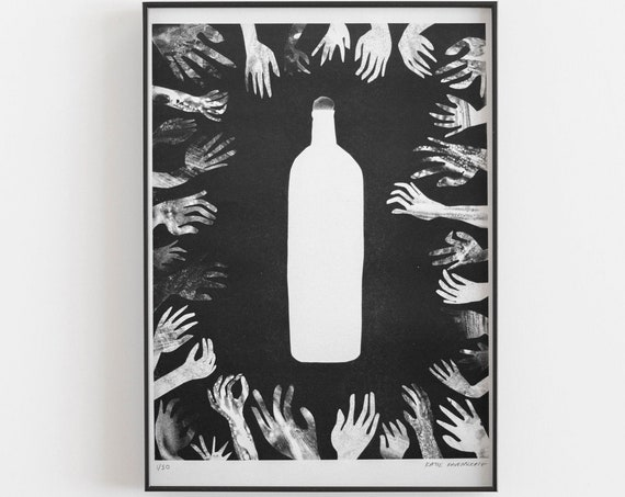 Riso Print -  Black and white bottle with hands.