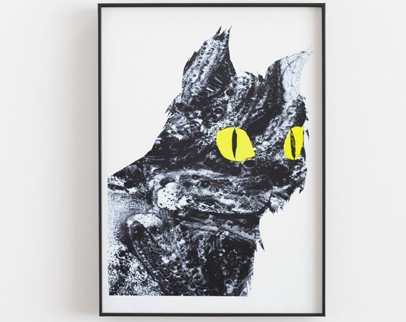 Cat Print - Risograph in black and yellow