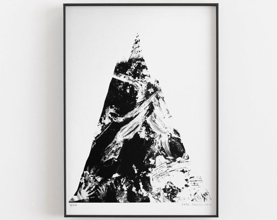 Riso Print - Mountain with hands painting