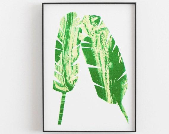 Riso Print - Risograph botanical print, bright green, A3