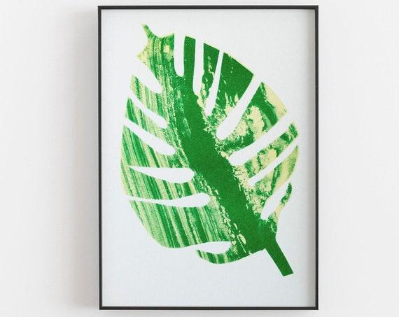 Monstera Riso Print - Bright green leaf risograph, small