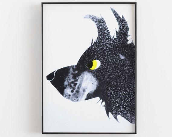 Dog Print - Risograph, black and yellow