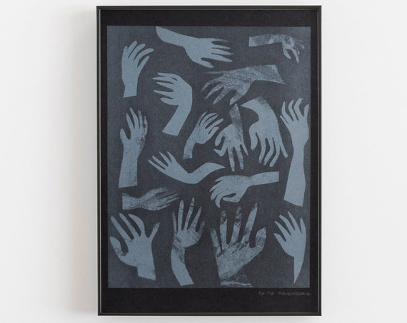 Riso Print - Risograph Printed hands in grey, on black paper