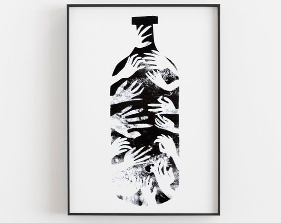 Bottle Riso Print - Black and white message in a bottle with hands, small
