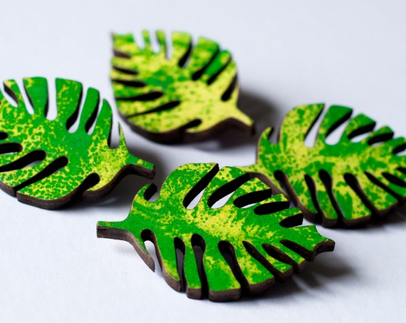 Monstera Leaf Pin - Wooden cheese plant leaf green and yellow riso brooch