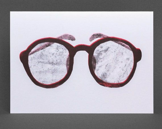 Glasses Card, Risograph Printed, red