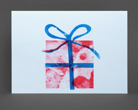 Present Card - Risograph Printed, red and blue