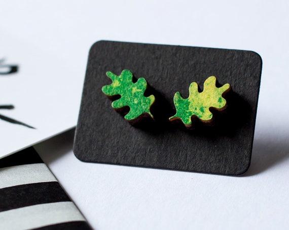 Leaf Earrings - Green, Riso printed wooden stud earrings, titanium hypoallergenic