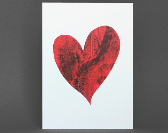 Heart Card - Risograph Printed in red