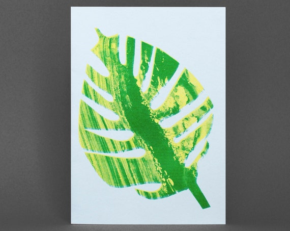 Monstera Leaf Card - Risograph Printed in green