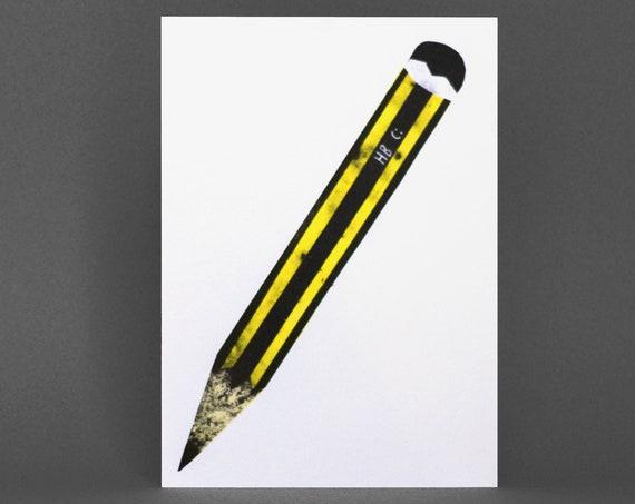 Pencil Card - Risograph Printed, yellow