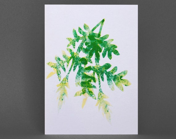 Plant Card - Risograph Printed in green