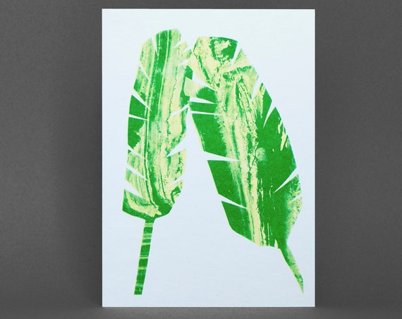Banana Leaf Card - Risograph Printed in green