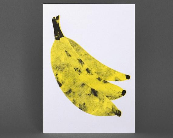 Banana Card - Risograph Printed, yellow