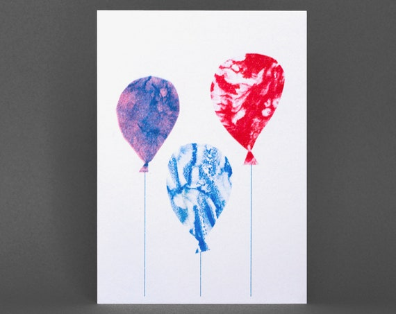 Balloons Card - Risograph Printed in red and blue