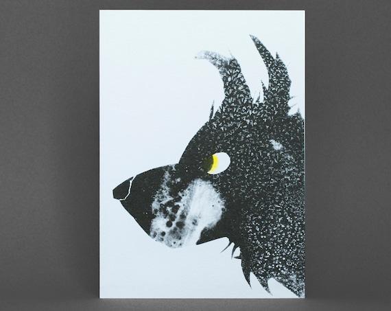 Dog Portrait Card - Risograph Printed.
