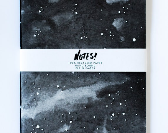 Recycled Notebook - starry sky, blank hand bound note book, black