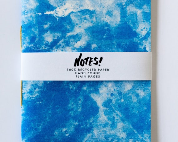 Recycled Notebook - blank, hand bound note book, blue cover