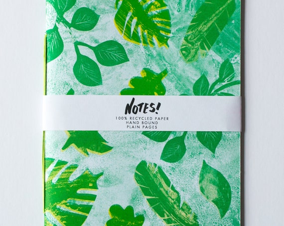 Garden Notebook - Recycled, Hand Bound blank note book, Risograph Printed cover in bright green with leaves