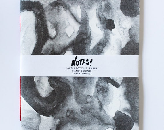 Recycled Notebook - Hand Bound blank note book, Risograph Printed cover in black