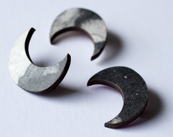 Moon Pin - Wooden celestial black and white riso brooch