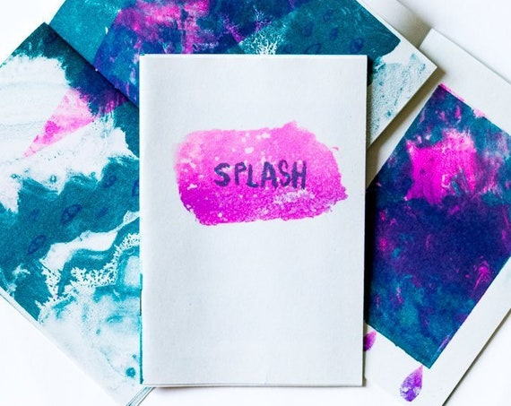 Risograph art zine, 'Splash' - Fluorescent Pink and Teal illustrated A6 fanzine.