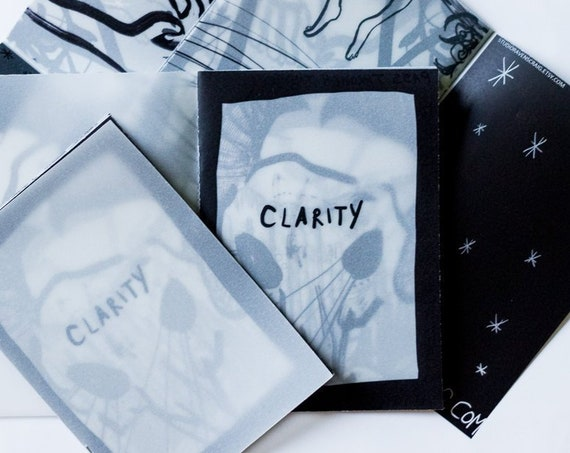 Art Zine - 'Clarity' - layered illustrated A6 zine printed on tracing paper.