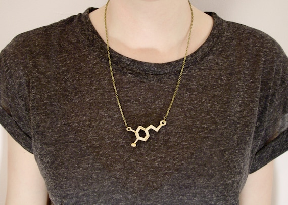 Dopamine Neurotransmitter Necklace, small - laser cut wooden pendant, love molecules. Brainy, cute and geeky gift. Valentines gift.