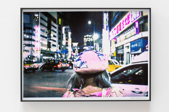 Photographic Riso Print - Colour risograph printed photograph of street level Tokyo