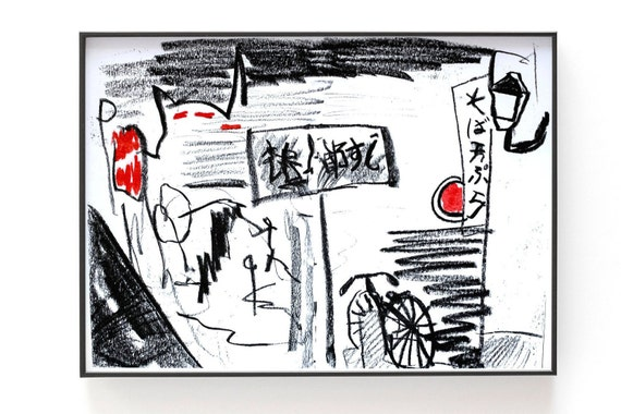 Riso Print - Tokyo Sketch, red and black risograph of a drawing