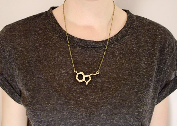 Serotonin Neurotransmitter Necklace, small - laser cut wooden pendant, love molecules. Brainy, cute and geeky gift, Valentines gift.