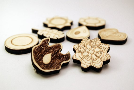 Pokemon Gym Badges, Kanto Indigo League - wooden laser cut pin brooches, delicately engraved. Whole set or individual. Geeky gamer gift