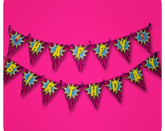 Supergirl Part Birthday Party Super Girl Banner Printed Cut And Shipped
