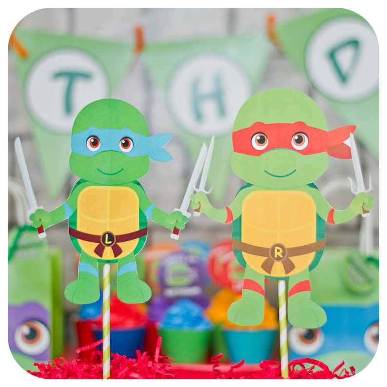 Teenage Mutant Ninja Turtle Centerpieces Tmnt Party Ninja Etsy