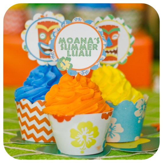 Hawaiian Party Theme Luau Cupcake Wrapper And Topper Birthday Wrappers