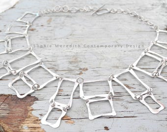 Silver square necklace, beaten link, abstract statement necklace, hammered box chain, geometric necklace,  bib necklace, cube necklace