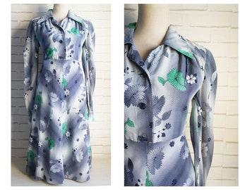 e27dc1a7c5 Large size 70s vintage dress- Daisies print shirt vintage dress.