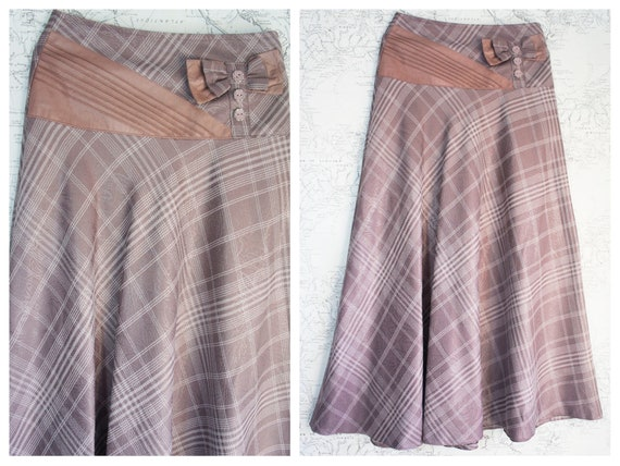 small size pale pink check maxi skirt - Bow waist
